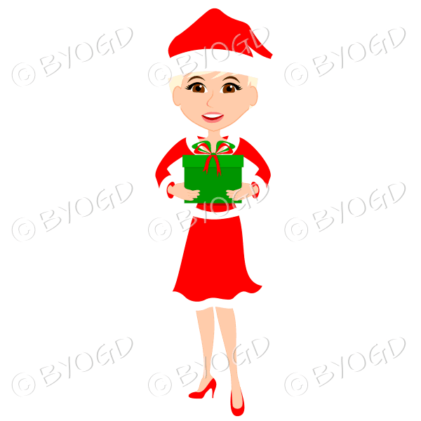 Christmas woman Santa holding a gift – with short blonde hair