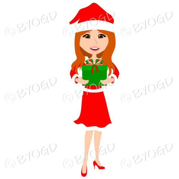 Christmas woman Santa holding a gift – with long red hair