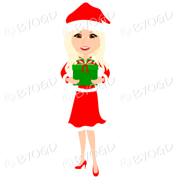 Christmas woman Santa holding a gift – with long blonde hair