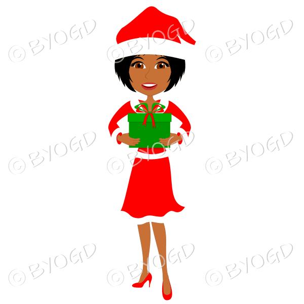 Christmas woman Santa holding a gift – dark skinned with medium length black hair
