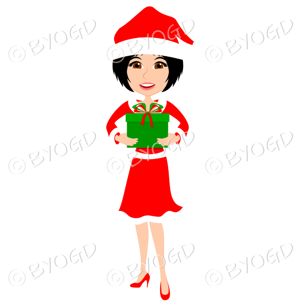 Christmas woman Santa holding a gift – with medium length black hair