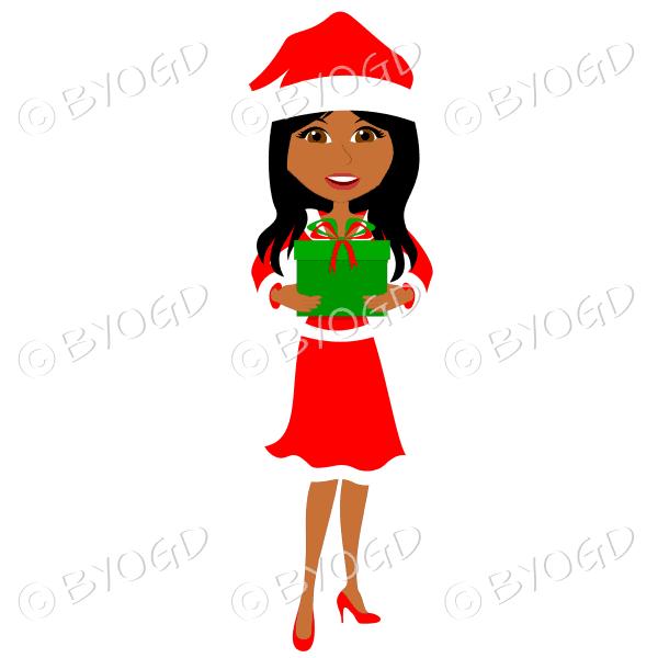 Christmas woman Santa – dark skinned with long black hair