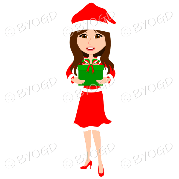 Christmas woman Santa holding a gift - with long brown hair