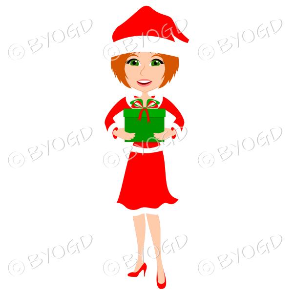 Christmas woman Santa holding a gift – with medium length red hair