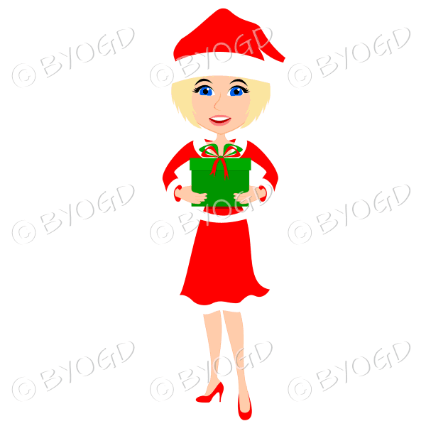 Christmas woman Santa holding a gift – with medium length blonde hair