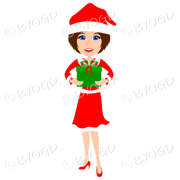 Christmas woman Santa holding a gift – with medium length brown hair