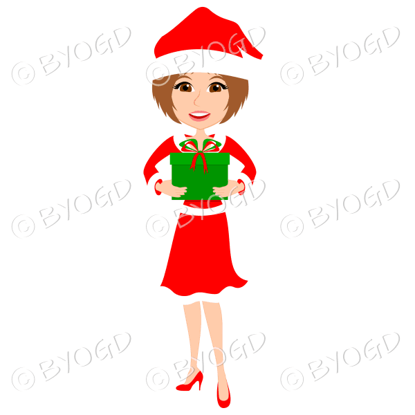 Christmas woman Santa holding a gift – with medium length light brown hair