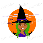 Halloween witch with long green hair in orange circle