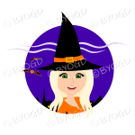 Halloween witch with long blonde hair in purple circle