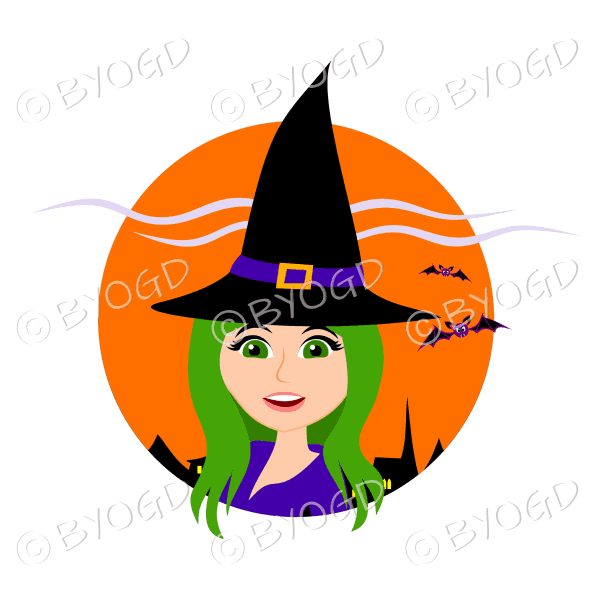 Halloween witch with long green hair and green eyes in orange circle
