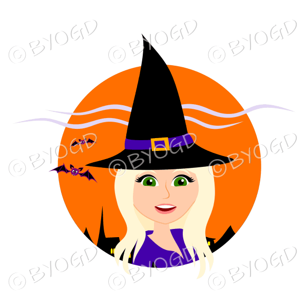 Halloween witch with long blonde hair in orange circle