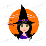Halloween witch with long black hair in orange circle