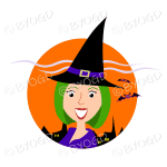 Halloween witch with green hair in orange circle