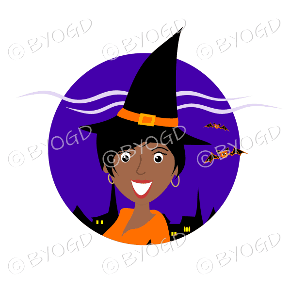 Halloween witch with short black hair in purple circle