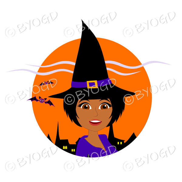 Halloween witch with short black hair in orange circle