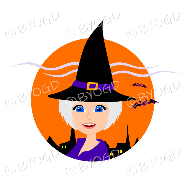 Halloween witch with short silver/grey hair in orange circle