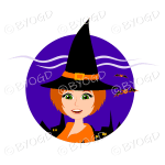 Halloween witch with short brown hair in purple circle