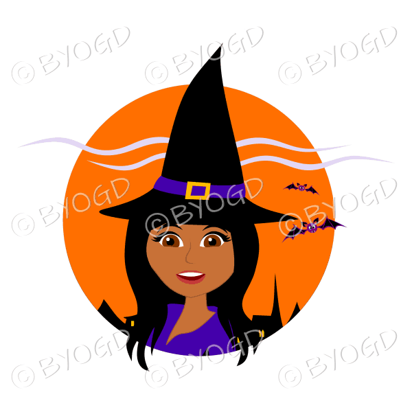 Halloween witch with long black hair and brown eyes in orange circle