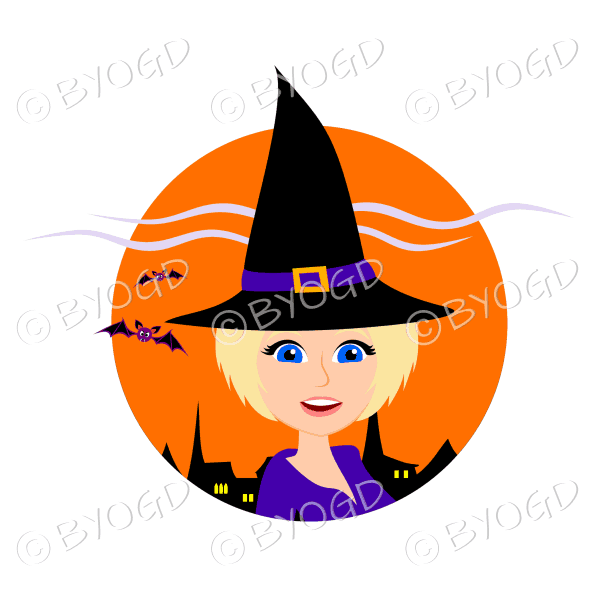 Halloween witch with short blonde hair in orange circle