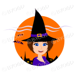 Halloween witch with short brown hair and blue eyes in orange circle