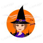 Halloween witch with brown hair and eyes in orange circle