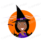 Halloween witch with black hair in orange circle