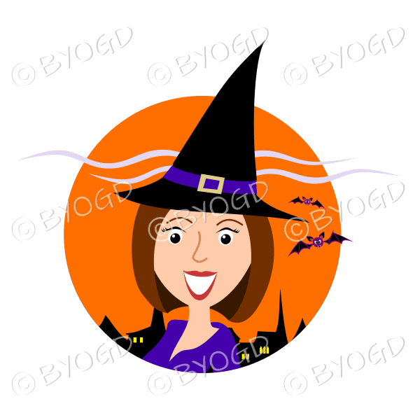 Halloween witch with brown hair in orange circle