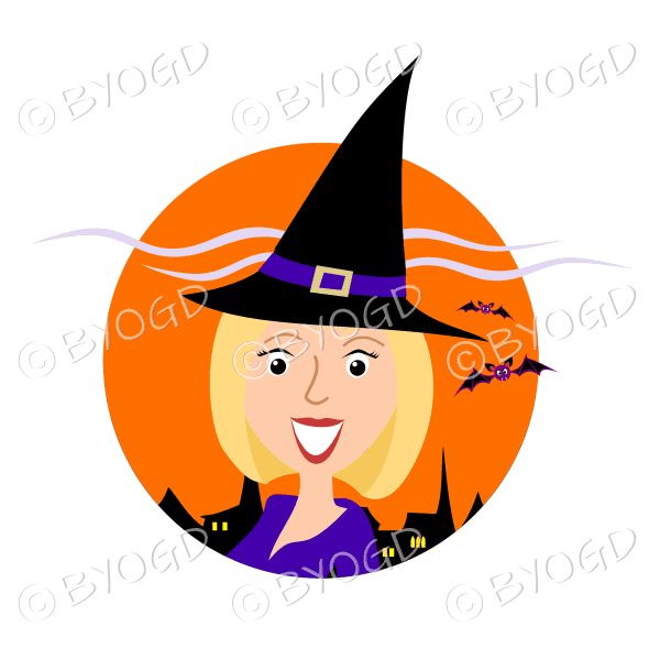 Halloween witch with blonde hair in orange circle