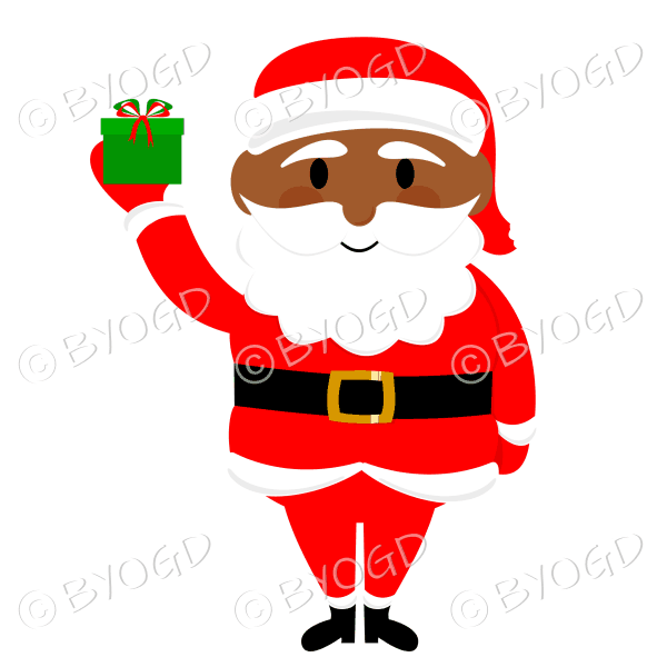 Dark skinned Santa Father Christmas with gift in his hand