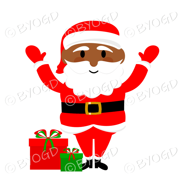 Dark skinned Santa Father Christmas waving both arms with gifts