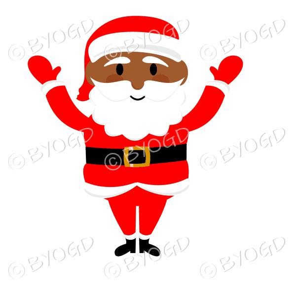 Dark skinned Santa Father Christmas waving both arms
