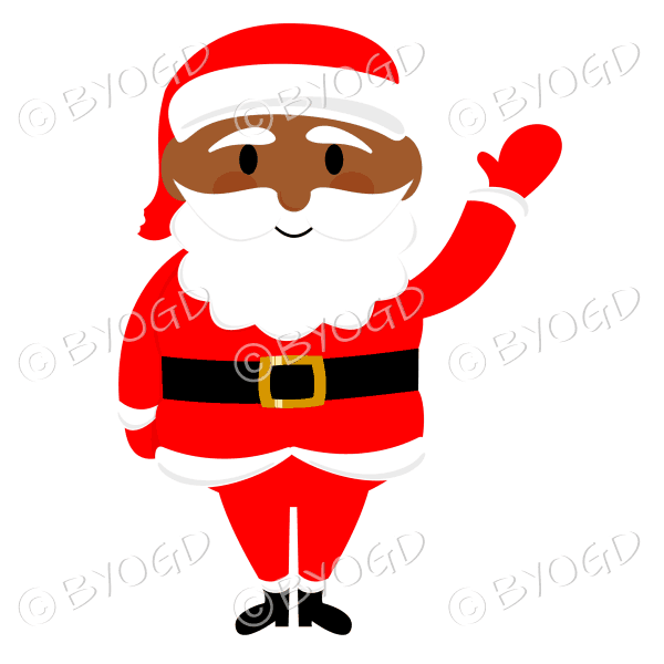 Dark skinned Santa Father Christmas waving hello with one arm
