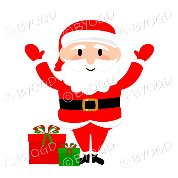 Santa Father Christmas waving both arms with gifts