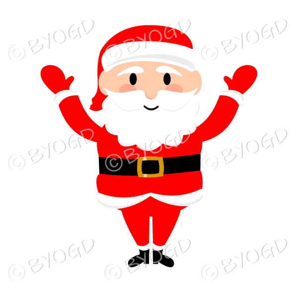 Santa Father Christmas waving both arms