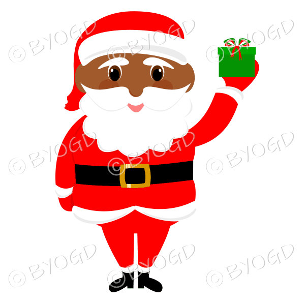 Dark skinned Santa Father Christmas with big eyes holding up a gift