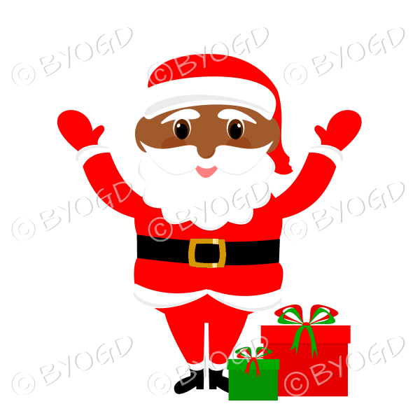 Dark skinned Santa Father Christmas with big eyes waving both arms with gifts