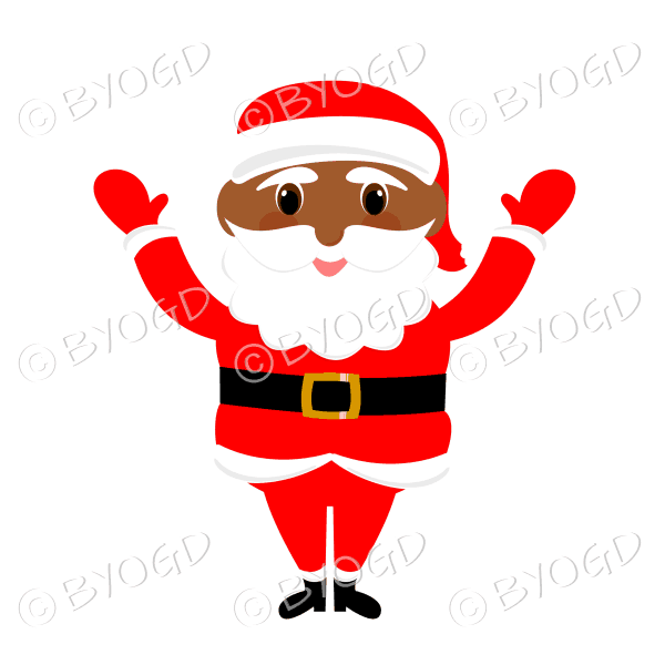 Dark skinned Santa Father Christmas with big eyes waving both arms