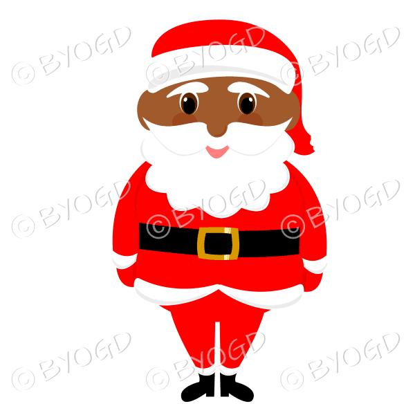 Dark skinned Santa Father Christmas with big eyes