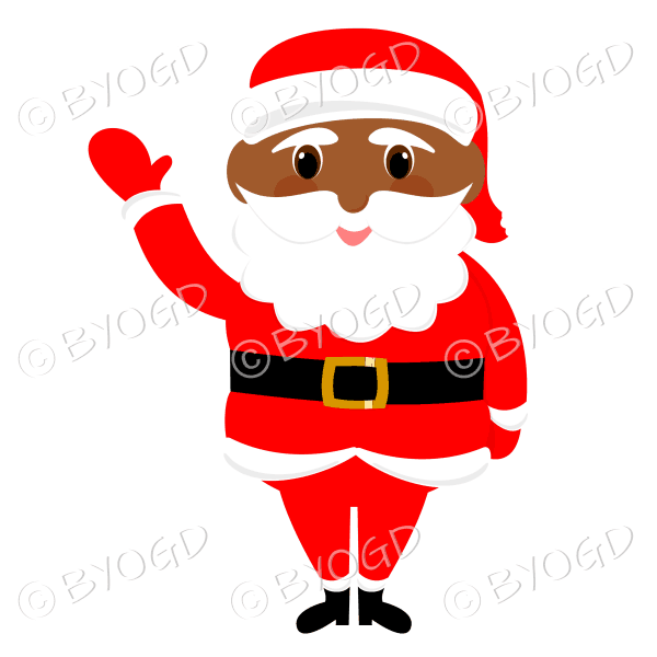 Dark skinned Santa Father Christmas with big eyes waving hello