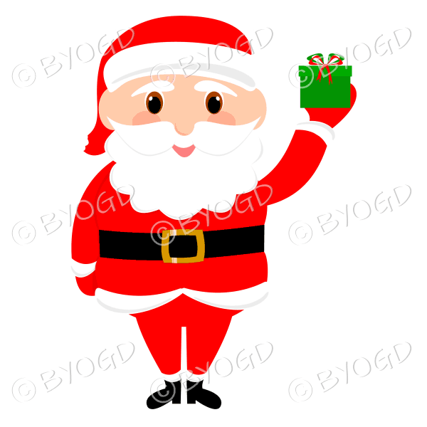 Santa Father Christmas with big eyes holding up a gift