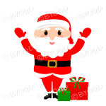 Santa Father Christmas big eyes waving both arms with gifts