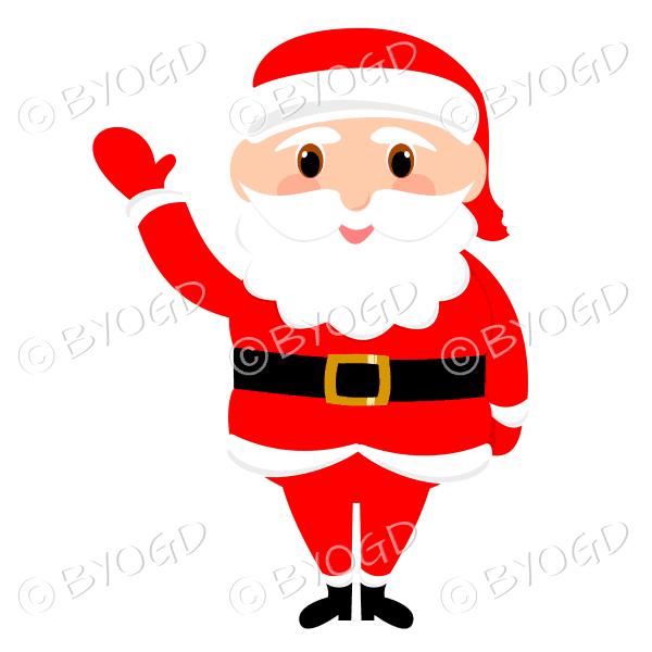 Santa Father Christmas with big eyes waving hello