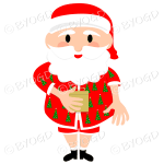 Australian Aussie Summer Santa Father Christmas holding a gift