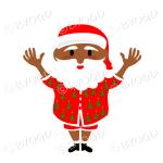 Dark skinned Australian Aussie Summer Santa Father Christmas waving both arms