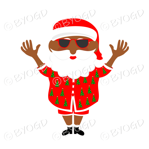 Dark skinned Australian Aussie Summer Santa Father Christmas in sunglasses