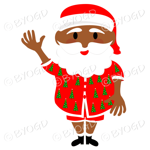 Dark skinned Australian Aussie Summer Santa Father Christmas waving one arm