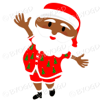 Dark skinned Australian Aussie Summer Santa Father Christmas dancing