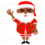 Dark skinned Australian Aussie Summer Santa Father Christmas waving in sunglasses