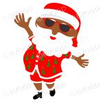Dark skinned Australian Aussie Summer Santa Father Christmas dancing in sunglasses