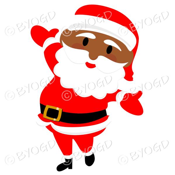 Dark skinned Santa Father Christmas dancing